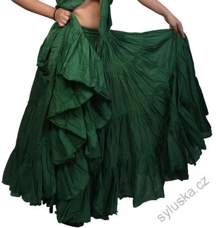 db01c20832a Sukně kolová TRIBAL - tmavě zelená (101 cm)