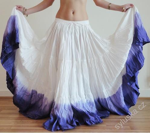 ff756986368 Sukně kolová TRIBAL - bílá fialová (101 cm)