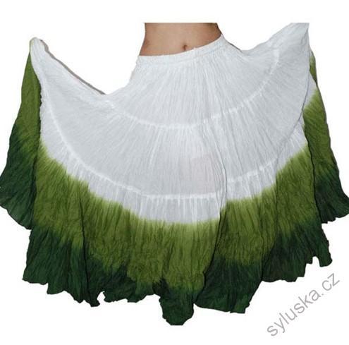 4b0de60933b Sukně kolová TRIBAL - bílá zelená tmavě zelená (101 cm)