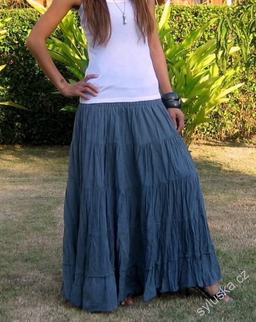 fc305f102ecd SKLADEM - Dlouhá sukně 100 cm - pružný pas - ŠEDÁ