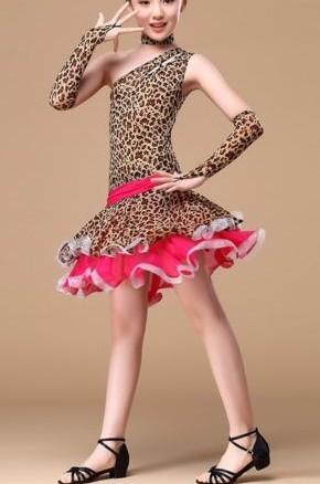 Dětské latino šaty LEOPARD HNĚDÉ 350f35fd0b