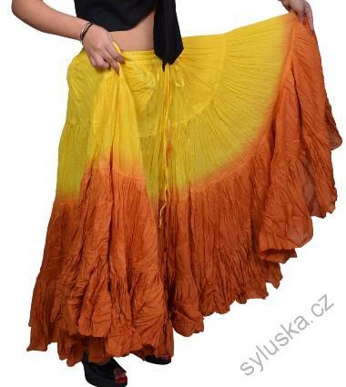 18786bd1ff4 Sukně kolová TRIBAL - žlutá skořicová (101 cm)