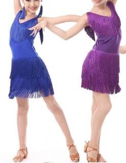 35e50af8641b Dívčí latino šaty AVA s třásněmi