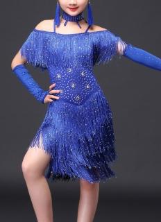 4bcfa94496e6 Dívčí latino šaty TAYLOR s třásněmi